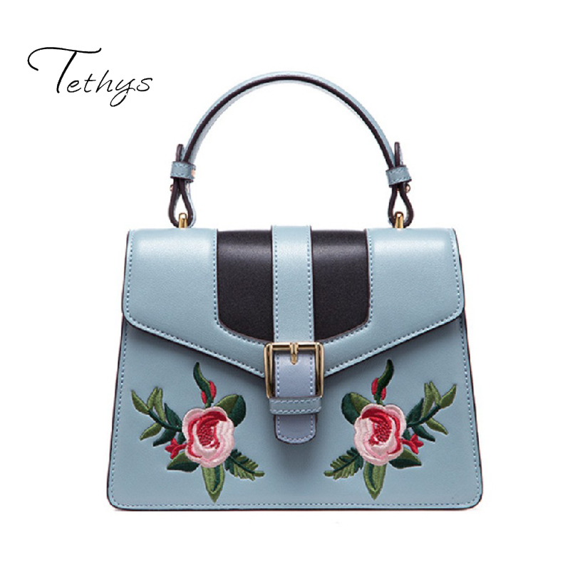 Tethys Women Bag Embroidery Leather Handbags Mini Sweet Ladies Single Crossbody Bags Female Bags High Quality noise meter usb digital sound level meter led noise tester meter gm1356 30 130db a c fast slow db software with carry box