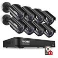 ZOSI 8CH CCTV системы 1080N HDMI система видеонаблюдения TVI DVR 8 шт. 720 P система наблюдения с инфракрасными датчиками камера 1280 ТВЛ камера наблюдения 1 Т...