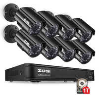 ZOSI 8CH CCTV System 1080N HDMI TVI CCTV DVR 8PCS 720P IR Outdoor Security Camera 1280 TVL Camera Surveillance System 1TB HDD