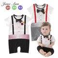 Roupa de algodão do bebê menino romper de manga curta preto e cinza dot bow tie com cinturão falso macacão infantil roupa bonito