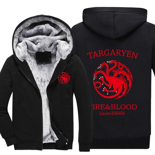 Game of Thrones House Stark of Winterfall Sweatshirt Zipper Fleece Winter Hoodies Men Tracksuit  Plus size M-4XL