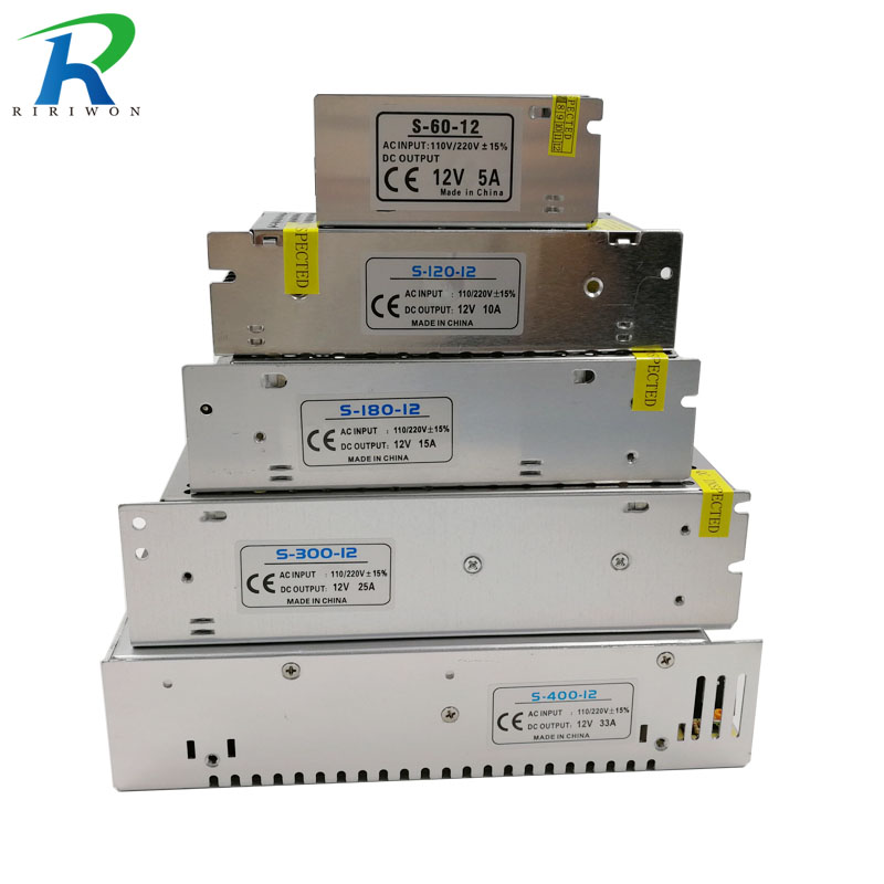 RiRi won DC 12 V fuente de alimentación interruptor de controlador de transformador de iluminación para tiras LED adaptador AC 220 V 2A 3A 6.5A 10A 15A 25A 30A 33A