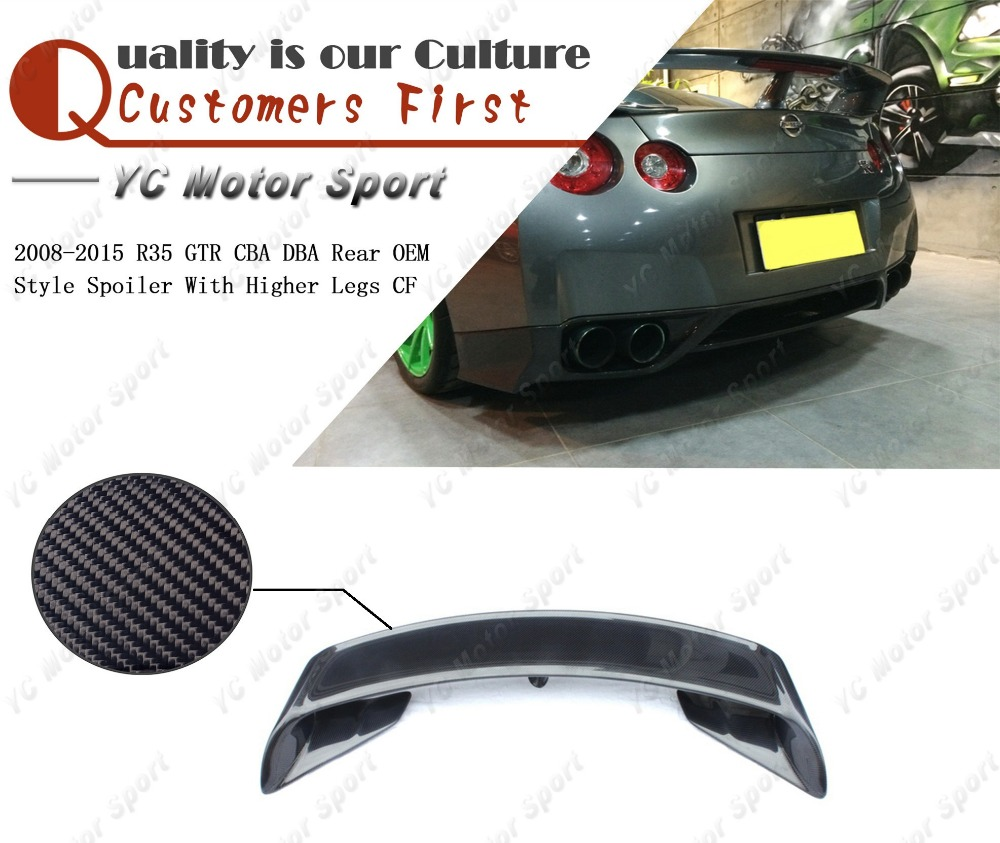 Car Accessories Carbon Fiber OEM Style Trunk Wing Fit For 2008-2015 <font><b>R35</b></font> <font><b>GTR</b></font> CBA DBA <font><b>Rear</b></font> <font><b>Spoiler</b></font> with Higher Legs image