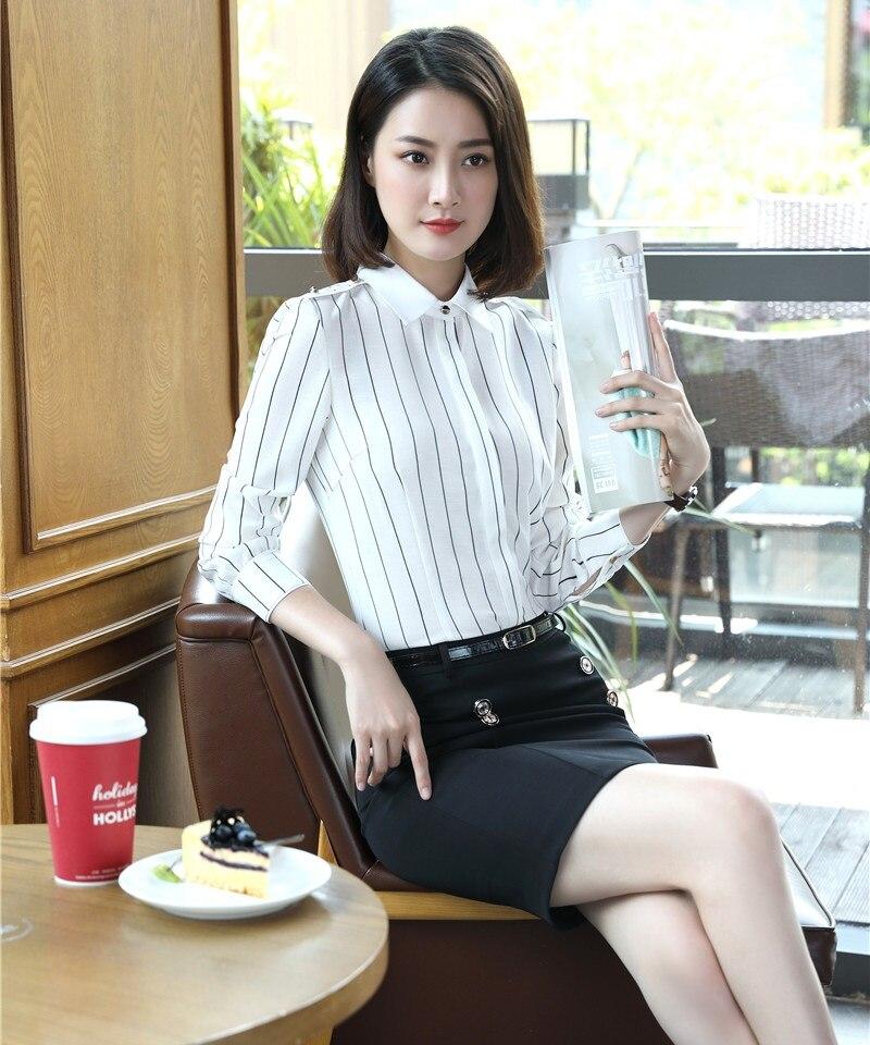 2 Stück Sets Frauen Rock Anzüge Weiß Gestreiften Blusen Und Top Damen Arbeitskleidung Büro Uniform Styles