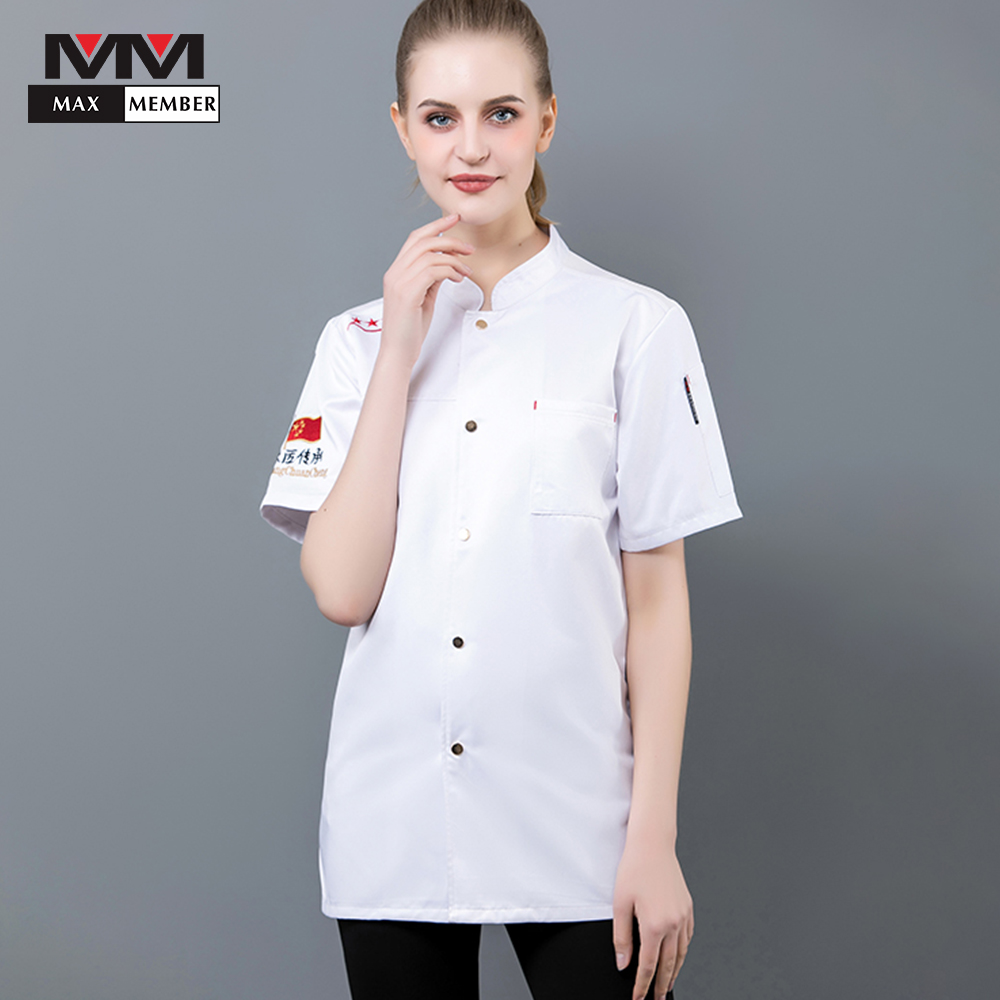 New Arrival Hotel Chef's Uniform Unisex Short Sleeves Catering Kitchen Breathable Clothes Restaurant Food Service Chef Jacket