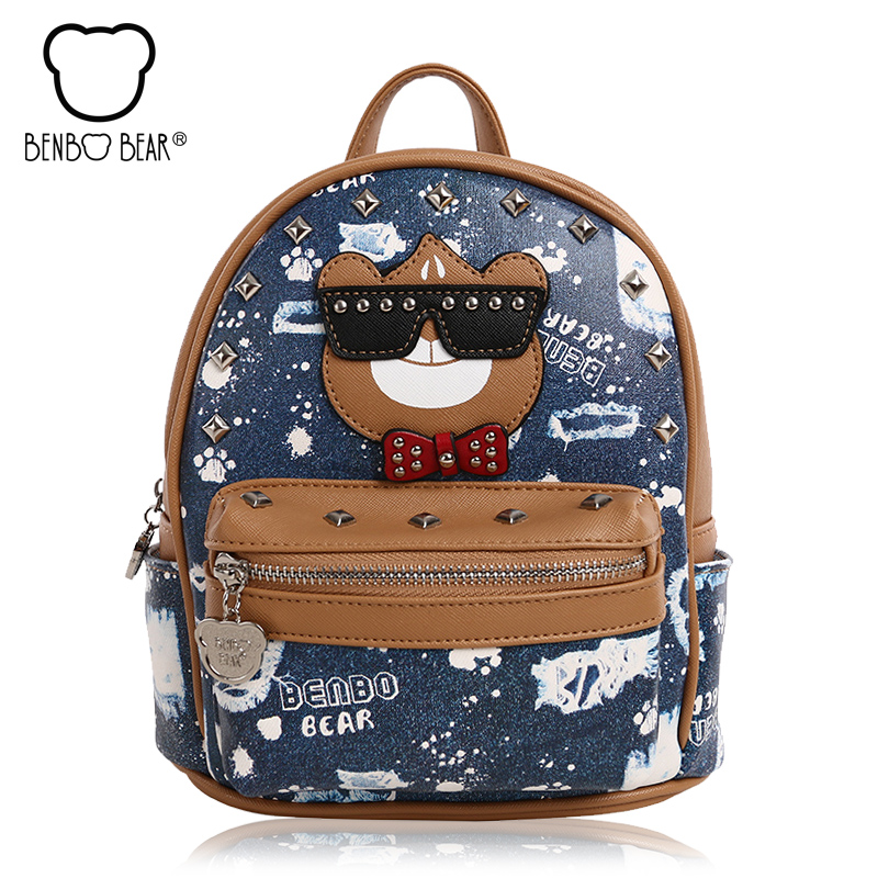 High Quality Printing Backpack Women Cute College Wind School Bags for Teenage Girl PU Leather Travel
