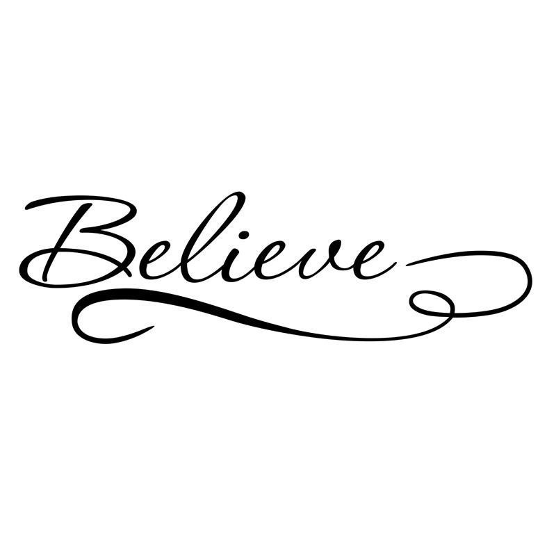 Inspirational Wall Stickers Removable Vinyl Decal Art Quote Believe Wall Decal Home Office image