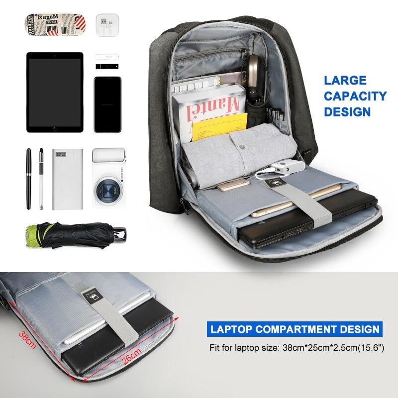 Tigernu étanche Anti-vol mâle Mochila 15.6 pouces sac à dos pour ordinateur portable hommes USB sacs à dos sacs d'école sac à dos pour adolescents sac de voyage - 4
