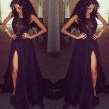 Reale Abbildungen Schwarz 2016 Abendkleid Split Side Dubai Kaftan Süße Formales Abendkleid Frauen Kleid Sweep Zug