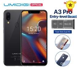 """UMIDIGI A3 Pro глобальная лента 5,7 """"19:9 полноэкранный смартфон 3 ГБ + 32 ГБ четырехъядерный процессор Android 8,1 12MP + 5MP с распознаванием лица Dual core 4G В"""