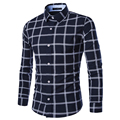 Brand Shirts Mens Casual Dress Shirts Plaid Shirt Long Sleeve Men's Clothing Work Wear Camisa Masculina Striped Shirt M-XXL 9133