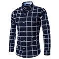 Camisas de marca dos homens camisas de vestido ocasional camisa xadrez de manga longa dos homens clothing desgaste do trabalho camisa masculina camisa listrada m-xxl 9133