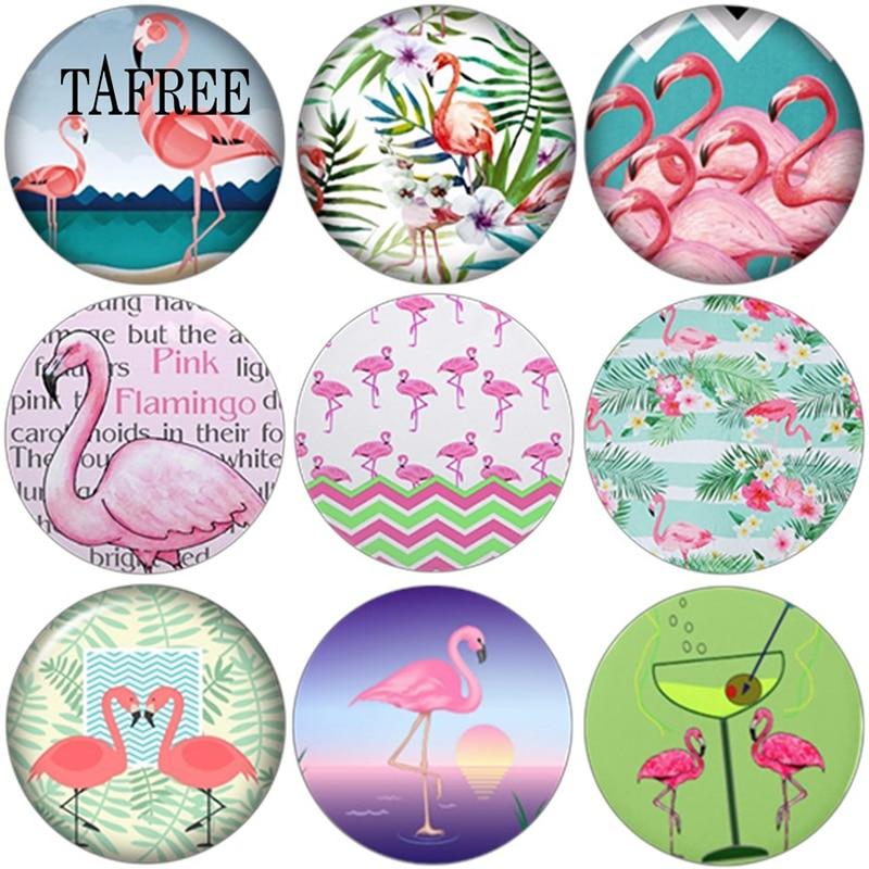 TAFREE 12/14/16/18/20/25MM Flamingo Pattern Round Glass Cabochons Dome Photo Handmade Cover Pendant Cameo Settings 5pcs/lot(China)