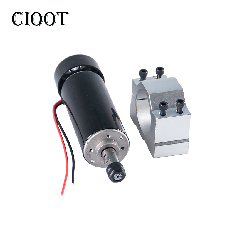 CIOOT DC 0.5KW Air Cooled Spindle Motor 500W CNC Spindle Router Motor ER11 Collet + 52MM Clamp For Engraving Milling Machine 600w high speed spindle motor air cooled motor dc spindle collet for cnc engraving machine drilling 1pcs