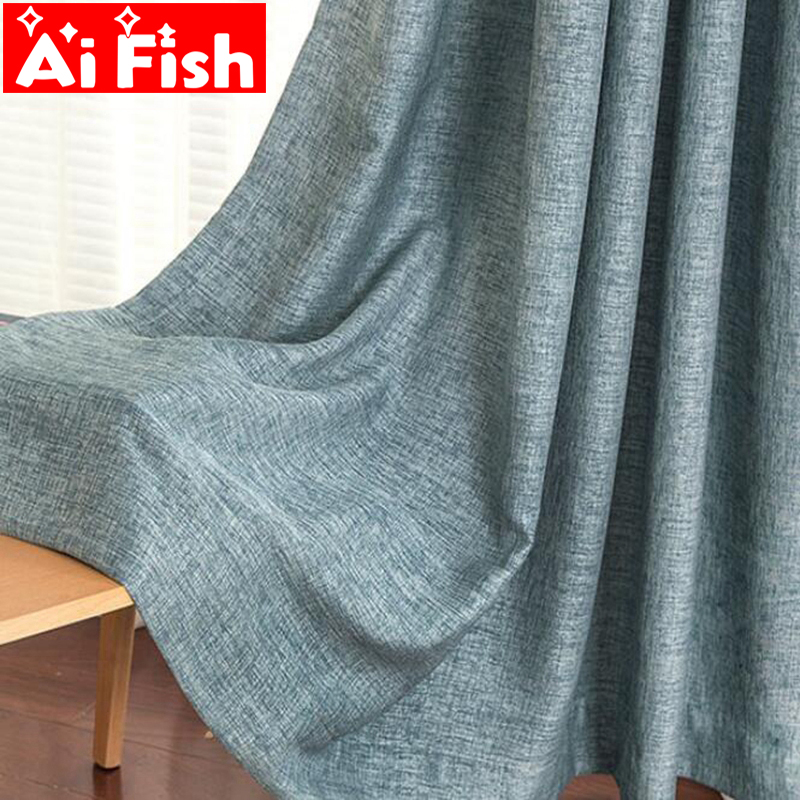 Solid Thickening Fluid Cotton Linen Curtains Fabric Insulation Shading Curtains For Living Room Modern Kitchen Drapes AF009-5