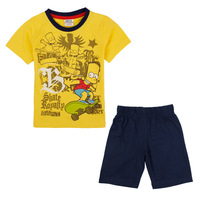 Yellow Blue Kid Clothing Set Skate Cartoon T Shirt And Black Short Pant All For Children