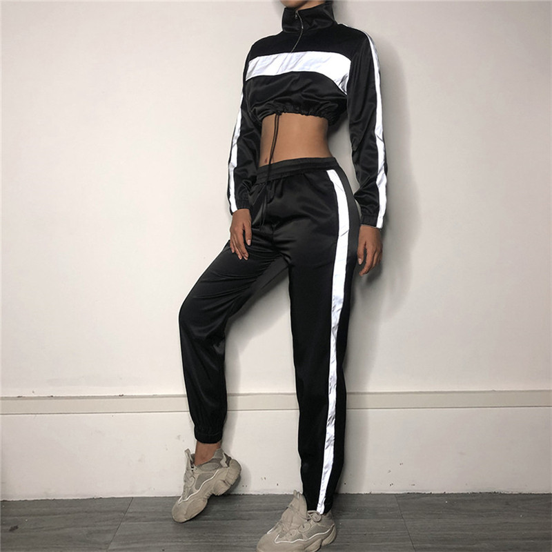 two piece set crop top and pants 2019 streetwear reflective tracksuit jogging femme 2 piece sets striped pants womens outfits