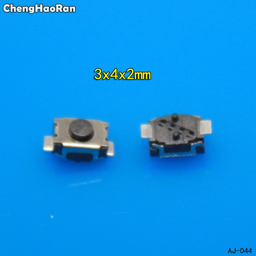 ChengHaoRan 10-100pcs 3x4x2.0 2P Button Two Foot Feet 2 Pin 2P SMD Patch Tact Switch Vertical Push-button Switch Micro 3*4*2mm