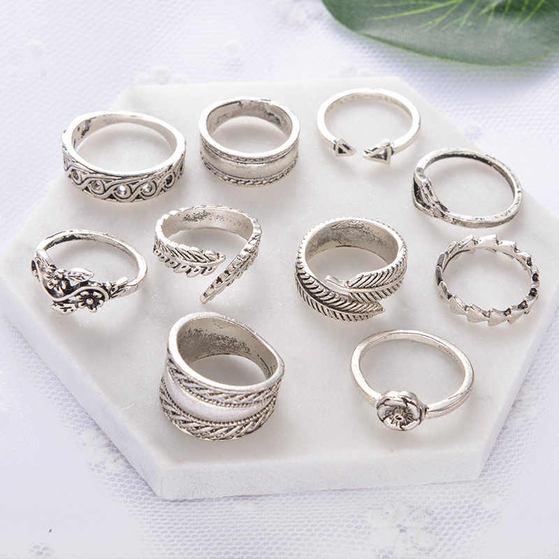 9 pçs anéis do vintage conjunto boho folhas flor seta espiral cor prata midi junta anel para feminino boêmio jóias anillos anel