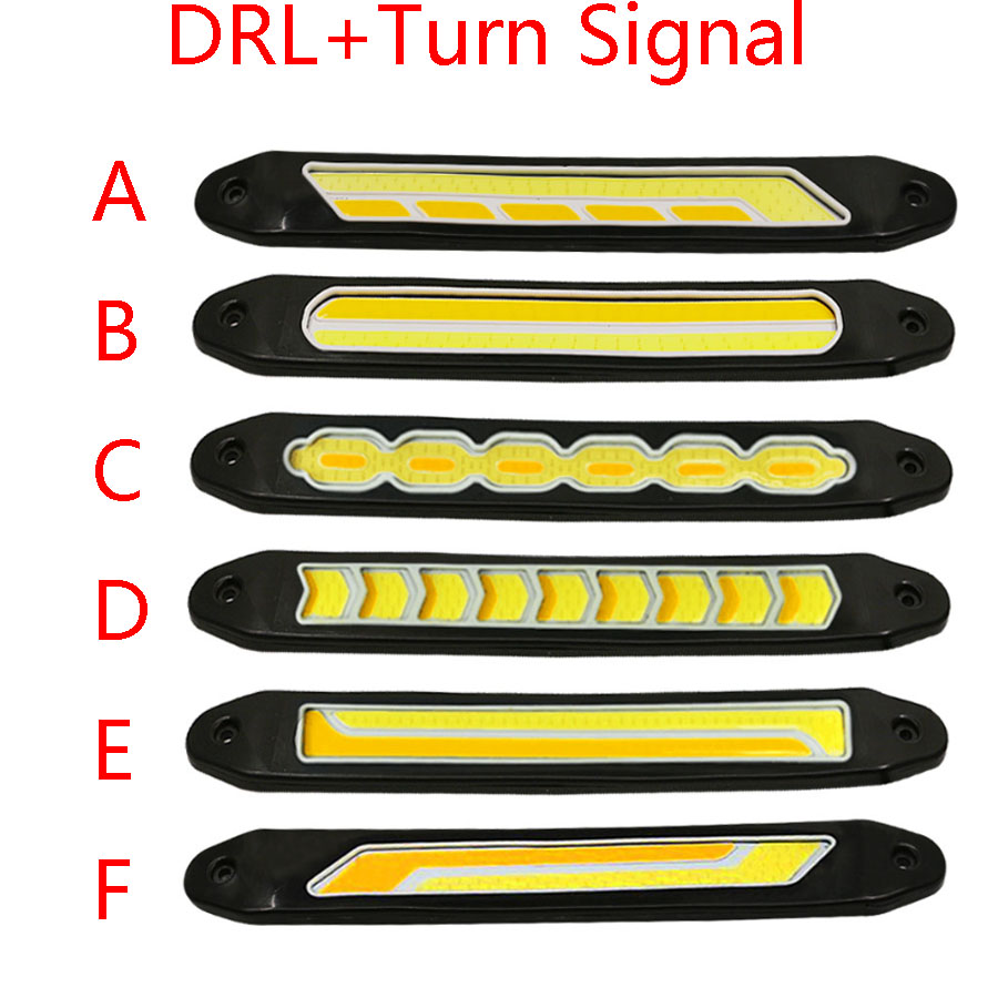 Car-Styling 2pc Flexible Waterproof White + Amber Car Head Working COB LED Daytime Running DRL Fog Lights With Turn Signal Light