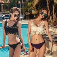 2017 New Hot Mulheres Branco Preto Verão Sexy Natação Desgaste sólidos Swimwear Bikini Brasileiro Bandeau Beachwear Rendas Empurrar Para Cima O Banho terno
