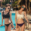 2017 New Hot Women Black White Summer Sexy Swim Wear Solid Swimwear Bikini Brazilian Bandeau Beachwear Lace Push Up Bathing Suit