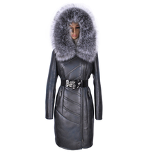 Factory direct supply winter coat suede Faux fashi Large size Sexy Hooded Silver fox Fur collar Long sleeves Psychedelic trench(China)