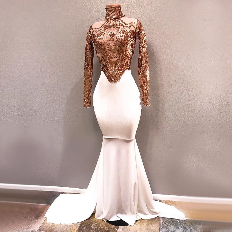 Designer Evening Dresses Sale On White: Long White Prom Dresses 2019 Elegant See Through High Neck