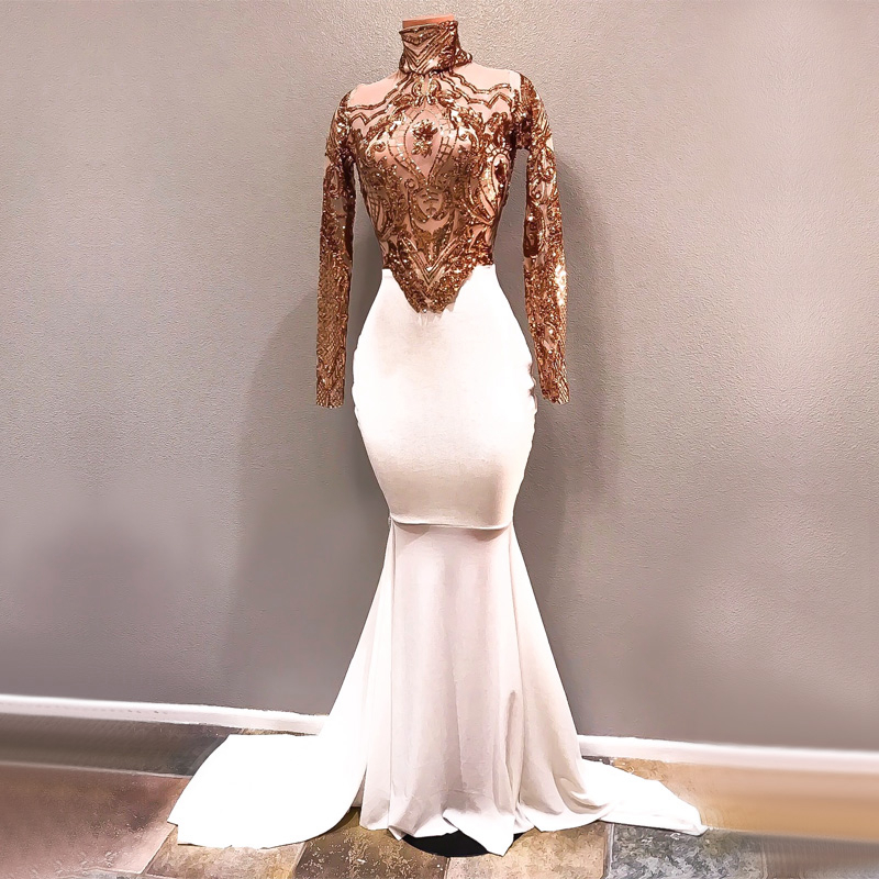 Long White Prom Dresses 2019 Elegant See Through High Neck Long Sleeve Gold Sequin African Girl Prom Dress Queen