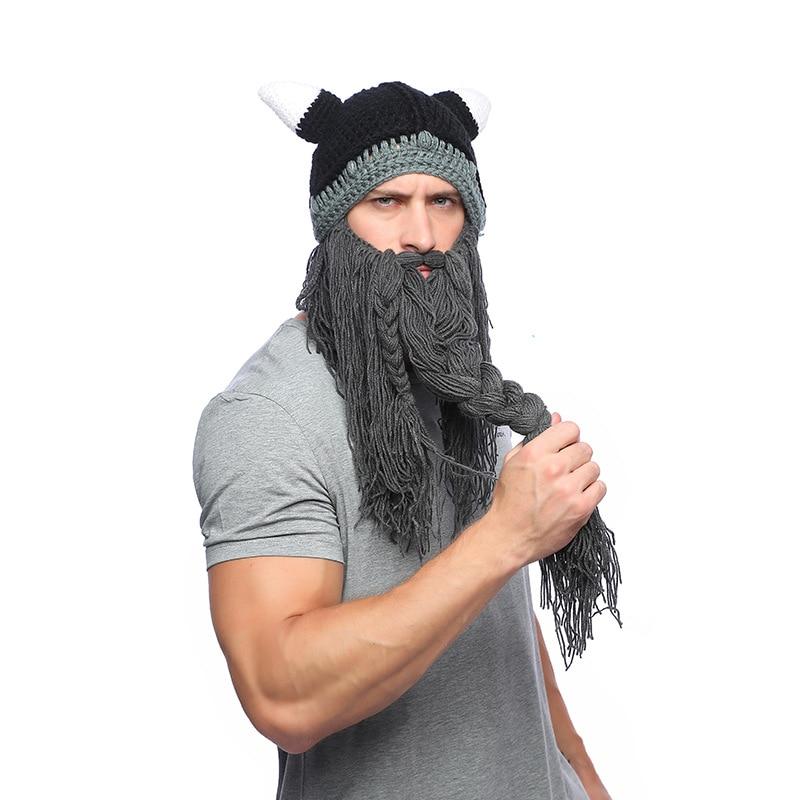 Funny Crazy Holiday Party Men Knit Viking Beard Horn Hat Ski Cap Halloween Barbarian Vagabond Cool Beanie Winter Warm Women Hat Apparel Accessories Men's Skullies & Beanies
