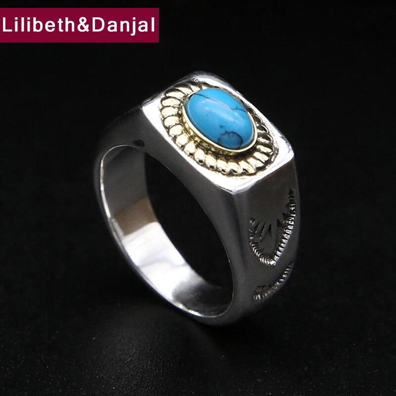 2019 incrusté bleu turquoise bague initiale 100% réel 925 en argent Sterling bijoux fins hommes Vintage lisse amour éternité anneau R136
