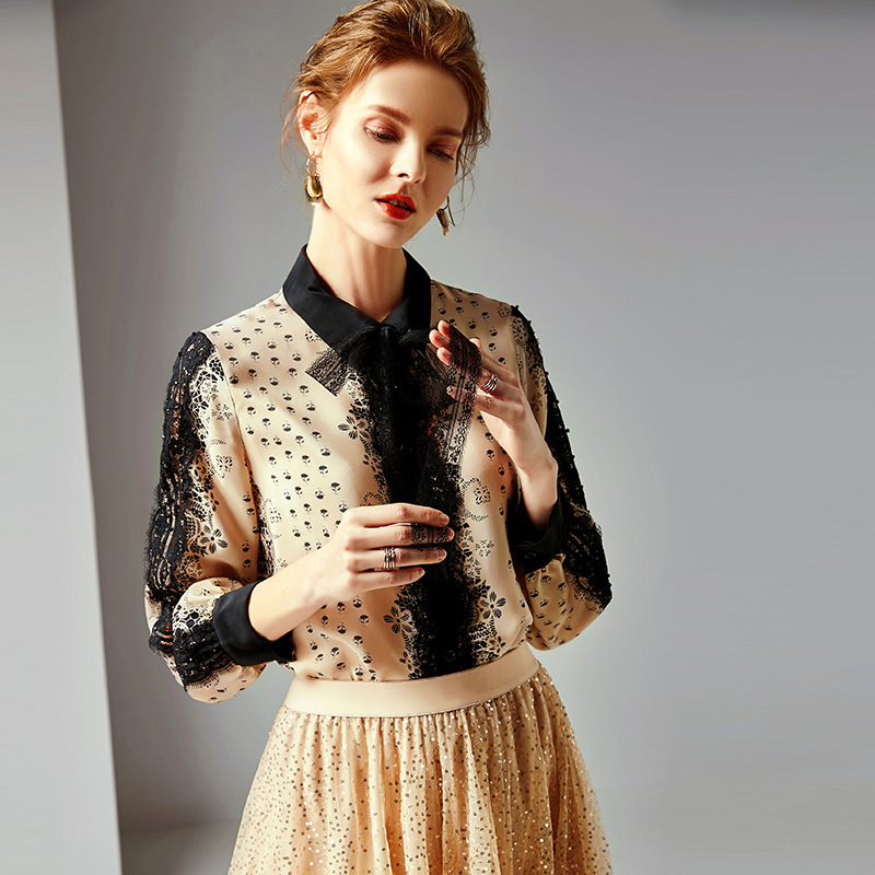100 Silk Print Lace Patchwork Long Sleeve Single Breasted Office Lady Work Blouse 2019 New Women Spring Summer Straight Shirts in Blouses amp Shirts from Women 39 s Clothing