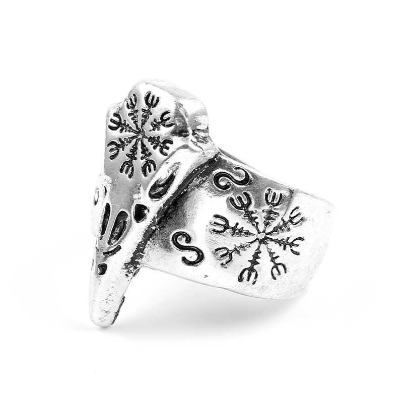 Готический Череп викинга птица кольцо стимпанк под старину, акриловый ворона голова скелет кольца для мужчин и женщин модные ювелирные изделия подарок Anel брелок