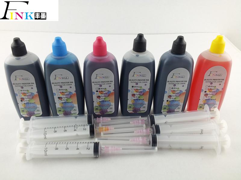 Prix pour 6 x 100 ml encre dye spécialisés pour Canon tout 6 couleur imprimante photo encre résistant aux UV peinture encre 450pgbk BK cmj GY gris colorant encre