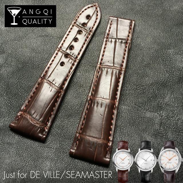 Bracelets DE montre Alligator Crocodile, pour Omega DE VILLE, Seamaster, océan, Bracelet DE montre, cuir véritable, 19mm, 20mm, 21mm