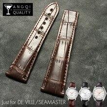 Crocodile Alligator Watchbands for Omega DE VILLE Seamaster Ocean Genuine Leather Watch Band Bracelet Strap Man 19mm 20mm 21mm