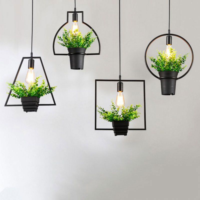 Hanging Outdoor Lights Without Trees: Creative Modern Simple Plant Pot Pendant Lights Black