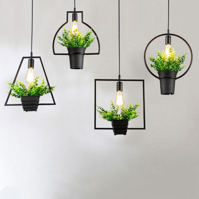 Creative Modern Simple Plant Pot Pendant Lights Black Wrought Iron Flowerpot  Hanging Lamp Bar Restaurant Cafe Amazing Design
