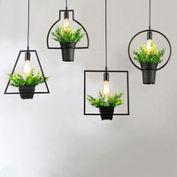 Creative Modern Simple Plant Pot Pendant Lights Black Wrought Iron Flowerpot Hanging Lamp Bar Restaurant Cafe Home Decor