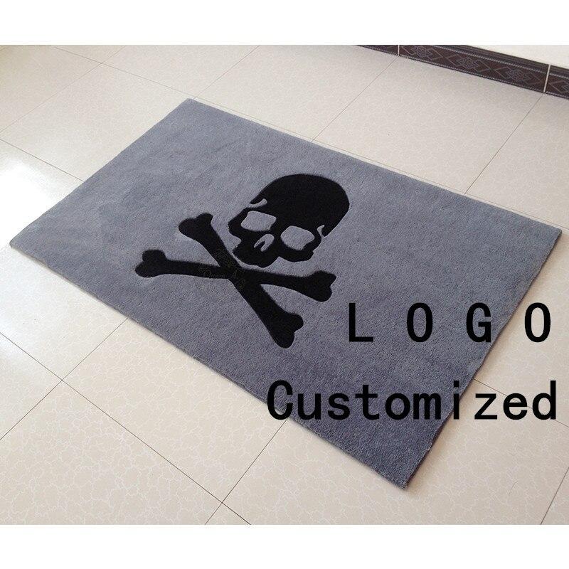 Tapis de sol gris et noir crâne pour salon ou chambre tapis de sol de marque personnaliser tapis de fibres acryliques