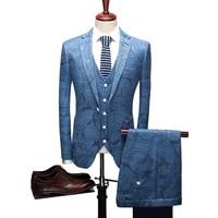 (Пиджак + брюки + жилет) мода печатных мужские льняной костюм Slim Fit Досуг свадебное платье костюмы Человек деловые блейзеры костюмы