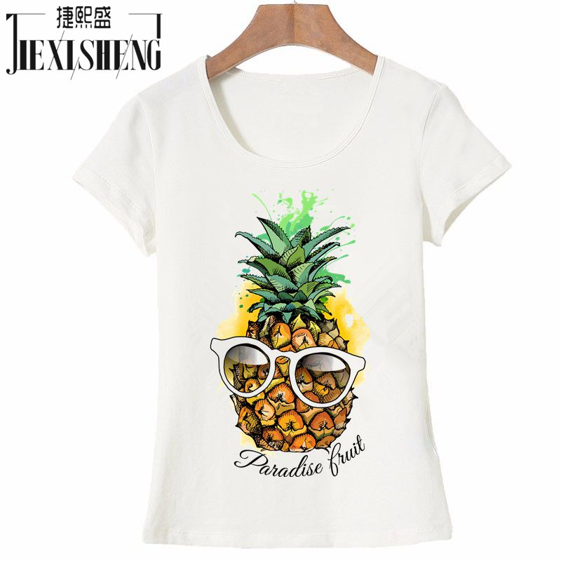 28aa5c3a787d 2017 Hot Sale Fashion fruit pineapple Design Women's Creative Printed  T-shirt Short Sleeve women Funny Tops Hipster Casual Tee