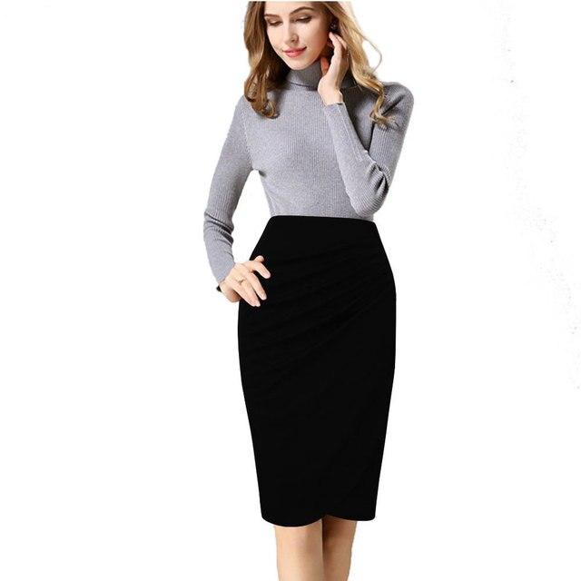 Aletterhin Saias Femininas High Waist Pencil Skirts Women s Elegant Spring  Autumn Working Party Bodycon Plus Size S-4XL Skirt 915fbf15da3e