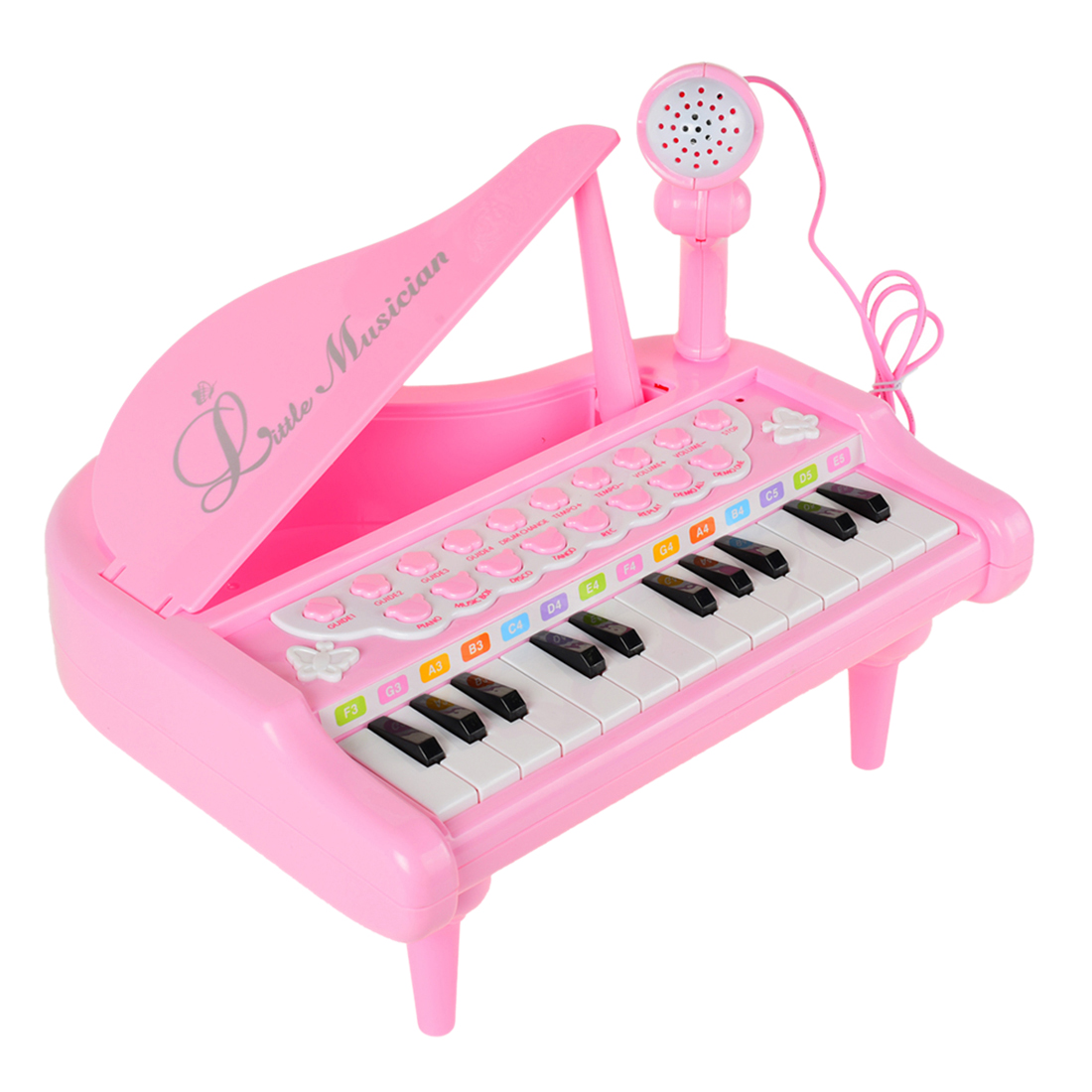 Kids 24 Keys Piano Mini Music Gift Children Musical Toy With Microphone 2019 Christmas Birthday Gift- Pink