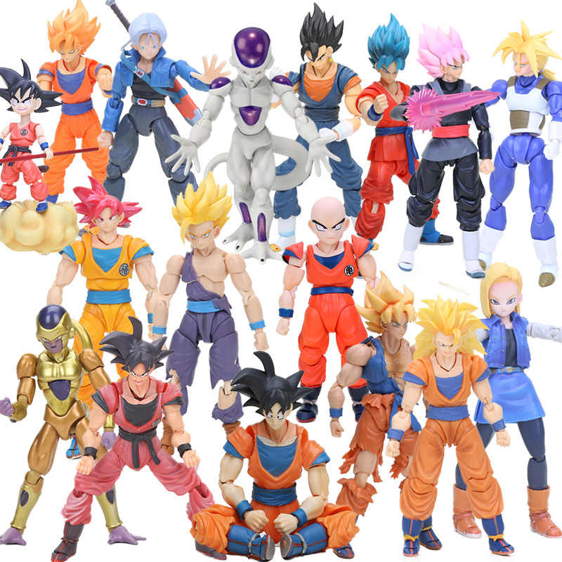 BOX 11.5-17cm Super Saiyan Son Goku Vegetto Vegeta Trunks PVC Action Figures Dragon Ball Z Collection Model Dolls Toys Figurine