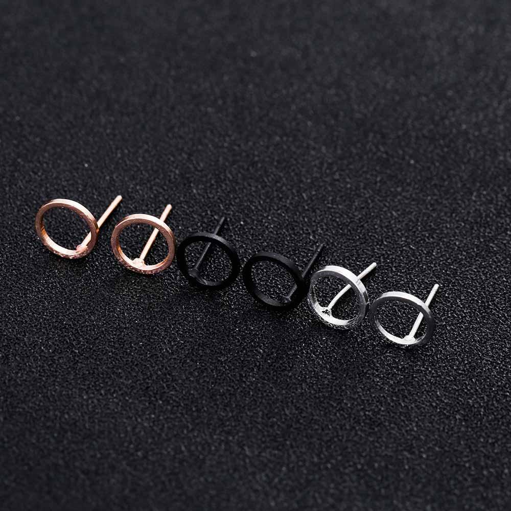 Fashion Minimalist Jewelry Gold Sliver Punk Geometric Round Circle Stud Earrings for Women Small Earrings Brincos Ear Jewelry 5