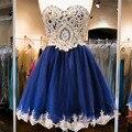 2017 платье de festa курто Royal Blue Lace Бисероплетение Короткие Пром Платье Вечернее Платья Партии Homecoming Платье