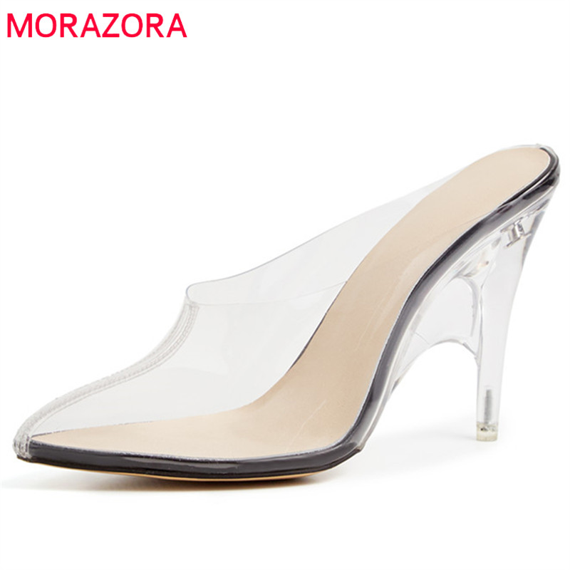 MORAZORA hot sale 2019 new shoes woman unique pvc Transparent summer shoes slip on high heels