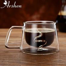 Arshen Double Wall Layer 200ml Gl Coffee Mug Handgrip