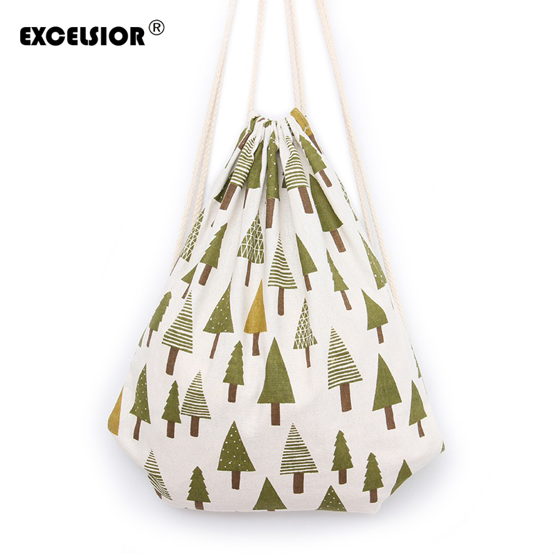 EXCELSIOR 2017 Brand New Women Canvas Drawstring Bag Tree Printing Sackpack Female Backpack Girls School Bag Mochila Bucket new brand 2015 women girls school bag rivets camouflage backpack cute canvas